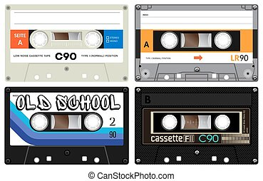 Audio cassette records - Vintage cassette tapes. Analogue...