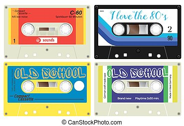 Audio cassette records - Collection of four plastic audio...