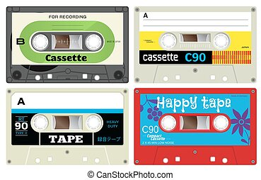 Plastic audio cassette tapes - Collection of four audio...