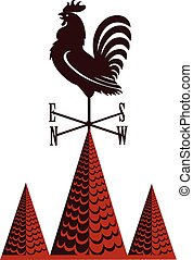 Weather vane rooster on pointed tile roof
