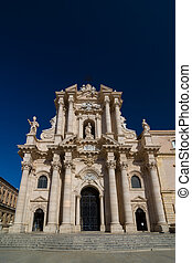 The Cathedral of Syracuse or Duomo di Siracusa. Sicily....