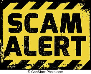 Scam alert sign yellow with stripes, road sign variation....