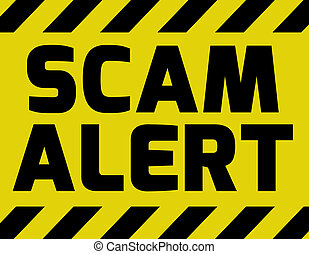 Scam alert sign yellow with stripes, road sign variation...