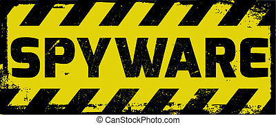 Spyware sign yellow with stripes, road sign variation....