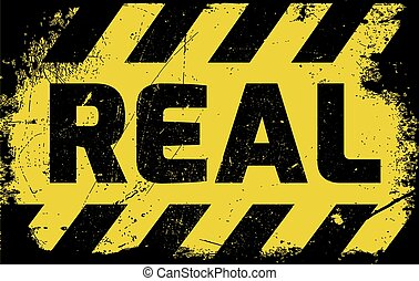 Real sign yellow with stripes, road sign variation. Bright...