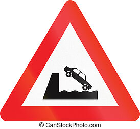 Belgian warning road sign - Quayside or river bank