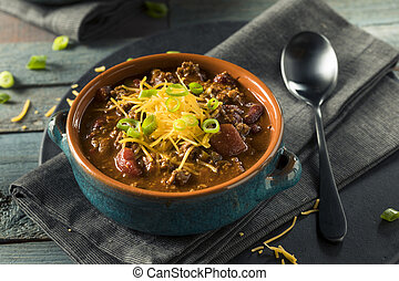 Homemade Beef Chili Con Carne with Cheese and Onions
