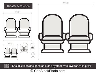 Theater seats line icon. - Theater seats vector line icon...