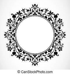 Vector Floral Frame - Detailed circular floral frame or...