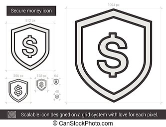 Secure money line icon - Secure money vector line icon...