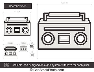 Boombox line icon - Boombox vector line icon isolated on...