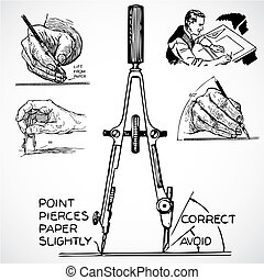 Vector Vintage Drafting Tools - Vintage vector advertising...