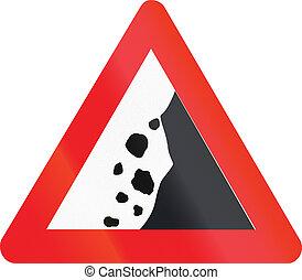 Belgian warning road sign - falling rocks