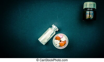 Medical objects still life seen from above. - Animation of...