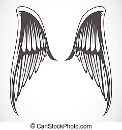 Vector Wings - Set of illustrated wings Easy to edit and...