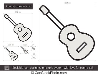Acoustic guitar line icon. - Acoustic guitar vector line...