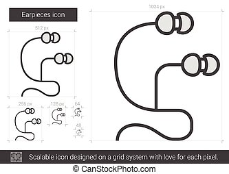 Earpieces line icon. - Earpieces vector line icon isolated...