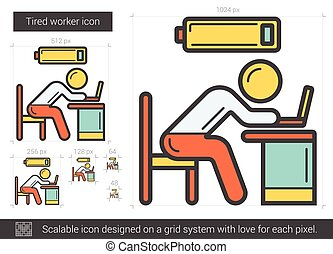Tired worker line icon - Tired worker vector line icon...