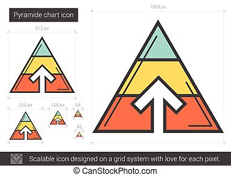 Pyramid chart line icon. - Pyramid chart vector line icon...