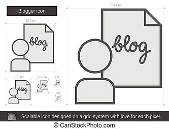 Blogger line icon - Blogger vector line icon isolated on...