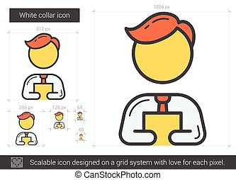 White collar line icon. - White collar vector line icon...