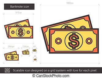 Banknote line icon - Banknote vector line icon isolated on...