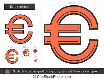 Euro sign line icon. - Euro sign vector line icon isolated...