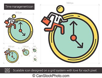 Time managment line icon. - Time managment vector line icon...