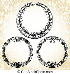 Vector Oval Wreath Frames