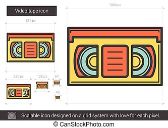 Video tape line icon - Video tape vector line icon isolated...