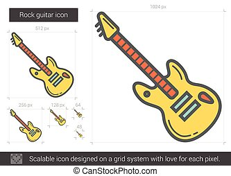 Rock guitar line icon. - Rock guitar vector line icon...