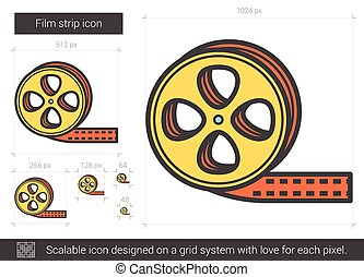 Film strip line icon. - Film strip vector line icon isolated...