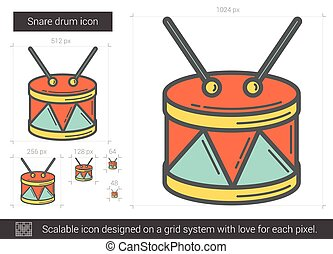 Snare drum line icon. - Snare drum vector line icon isolated...