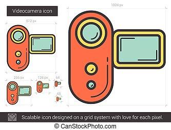 Videocamera line icon - Videocamera vector line icon...