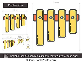 Pan flute line icon - Pan flute vector line icon isolated on...