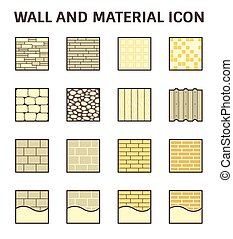 Wall material icon - Wall pattern and material vector icon...