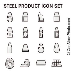 Steel product icon - Vector icon of steel pipe and...