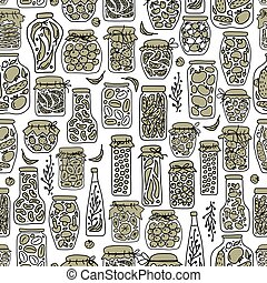 Seamless pattern with pickle jars fruits and vegetables...