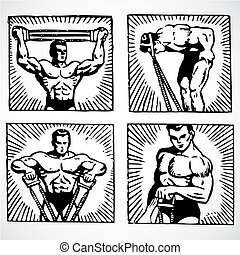 Vector Vintage Men Working Out - Vintage vector advertising...