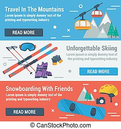 Three banners skiing and snowboarding