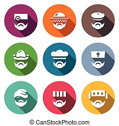 Vector Set of Profession People Icons. Doctor, Beekeeper,...