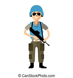 Vector Peacemaker in blue helmet. Flat style colorful...