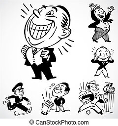 Vector Vintage Happy Men - Vintage vector advertising...