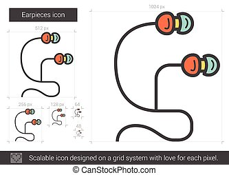 Earpieces line icon - Earpieces vector line icon isolated on...