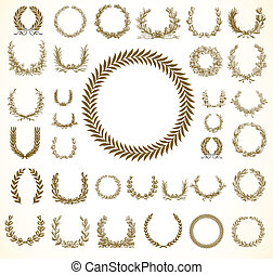 Vector Laural Wreaths - Set of detailed vector victory...
