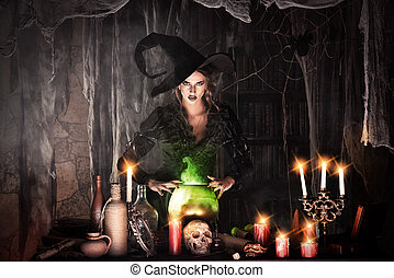 charming witch - Attractive witch conjures in the wizarding...
