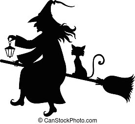 Witch with broom and kitty fly on broom - Vector...