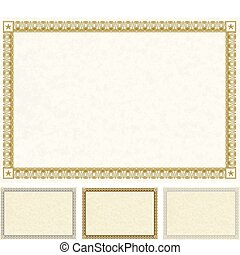 Vector Certificate Frame Set - Set of detailed and ornate...