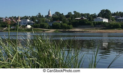 View on small russian town from other riverside