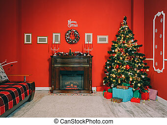 Defocused background Living room with christmas tree and fireplace